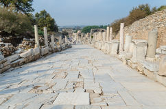 Marble street in ancient Ephesus city. Stock Photography