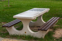 Marble table for chess and backgammon Royalty Free Stock Photos