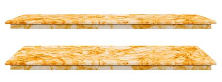 Marble table, counter top gold surface, Stone slab for display products isolated on white background have clipping path.  royalty free stock photos