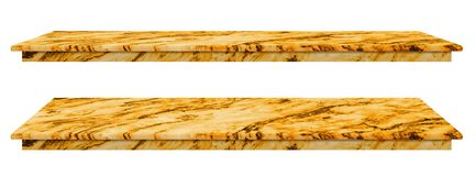 Marble table, counter top gold surface, Stone slab for display products isolated on white background have clipping path.  royalty free illustration