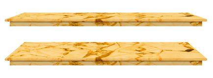 Marble table, counter top gold surface, Stone slab for display products isolated on white background have clipping path.  stock photo