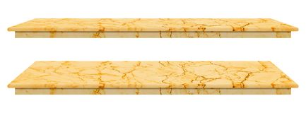 Marble table, counter top gold surface, Stone slab for display products isolated on white background have clipping path.  stock illustration