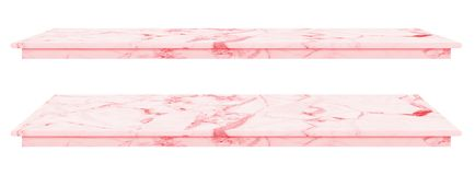 Marble table, counter top pink surface, Stone slab for display products isolated on white background have clipping path stock images