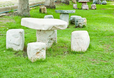 Marble table in the garden Royalty Free Stock Images