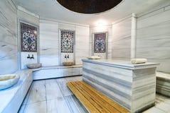 A marble table in the Turkish hammam. Traditional turkish bathroom interior. Classic Interior of Turkish sauna stock photo