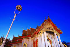 Marble Temple in Bangkok Thailand at twilight Stock Images