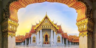 Marble Temple of Bangkok, Thailand. Wide angle view, The famous stock photography