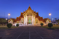 The Marble Temple with blue sky. Wat Benchamabopitr Dusitvanaram Bangkok, Thailand Royalty Free Stock Image