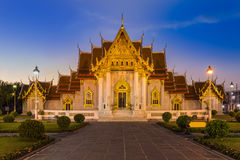 Marble Temple locate in central of Bangkok Thailand Stock Photo
