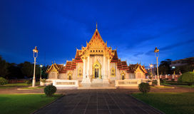 Marble Temple at night, Bangkok, Thailand Royalty Free Stock Photography