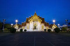Marble Temple at night Bangkok Thailand Stock Photography