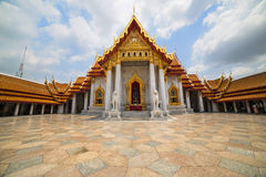 The Marble Temple with reflection under the blue sky, Wat Bencha Royalty Free Stock Photo