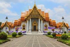The Marble Temple with reflection under the blue sky, Wat Benchamabopitr Dusitvanaram Royalty Free Stock Photography