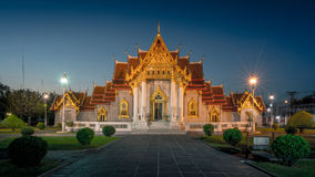 Marble Temple, Thai Temple at Twilight. Traditional Thai architecture also known as Wat Benchamabophit, Bangkok Thailand royalty free stock images