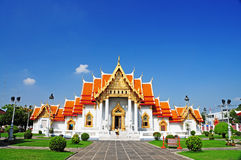 Marble Temple in Thailand with one man Stock Photos