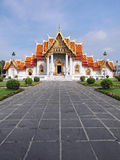 Marble temple under cloudy sky. The Marble Temple (Wat Benjamabophit) was under the cloudy sky, Bangkok Thailand Royalty Free Stock Photo