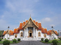 Marble temple under cloudy sky. The Marble Temple (Wat Benjamabophit) was under the cloudy sky, Bangkok Thailand Stock Photos
