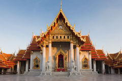 Marble temple or Wat Ben with clear blue sky. Royalty Free Stock Images