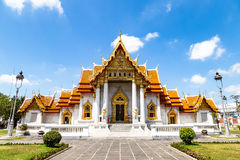 The Marble Temple, Wat Benchamabophi, in Bangkok, Thailand. Built entirely of white marble from Italy Stock Photos
