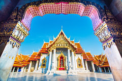 Marble Temple (Wat Benchamabophit Dusitvanaram) Ba. Beautiful Thai Temple Wat Benjamaborphit, temple in Bangkok, Thailand Stock Images