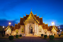 Marble Temple (Wat Benchamabophit Dusitvanaram), major tourist attraction, Bangkok, Thailand. Stock Photos