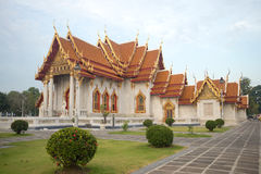 Marble temple Wat Benchamabophit in the early morning. Bangkok. Thailand Royalty Free Stock Photography