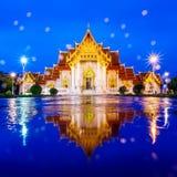 The Marble Temple, Wat Benchamabopit Dusitvanaram in raining ref Stock Image