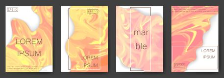 Marble texture covers set. Colorful artistic backgrounds. EPS10 Vector Royalty Free Stock Image