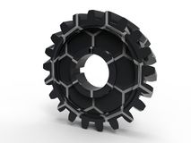 Marble texture industrial cog. 3D render illustration of a marble textured industrial cog. The composition is isolated on a white background with shadows Stock Image