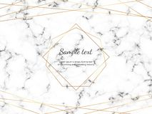 Marble texture with modern geometric polygonal frame and gold lines. Template for card, flyer, invitation, party, birthday, baby s vector illustration