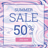 Marble texture. Summer sale up to 50 per cent off. Web banner or poster for e-commerce, on-line cosmetics shop, fashion and beauty shop, store royalty free illustration