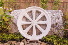 Marble Thammachak (Wheel of Dhamma) , symbol of Buddhism Stock Image