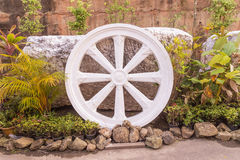 Marble Thammachak (Wheel of Dhamma) , symbol of Buddhism Stock Photos