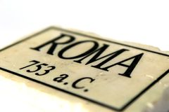 Marble tile with Roma writing Stock Photos