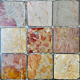 Marble tiles. Nine floor tiles of different marble textures Stock Images