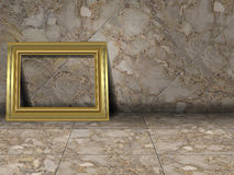 Marble tiles. Marbled floor and wall tiles with empty gold picture frame Royalty Free Stock Photography