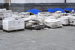 Marble tiles. On pallets at construction site Royalty Free Stock Photos