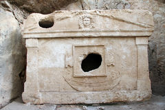 Marble tomb. With hole in Olimpos, Turkey Royalty Free Stock Photos