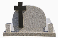 Marble tombstone with black cross Stock Images
