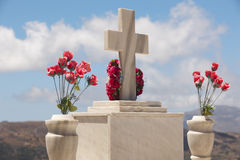 Marble tombstone in a cretan graveyard. Greek Stock Image