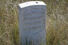 Tombstone at Little Big Horn National Park stock photos