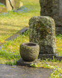 Marble tombstone and vase Royalty Free Stock Photos