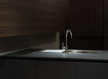 Marble Top Kitchen Sink. Clean Modern Kitchen with White Marble Counter and Crockery in Cabinets in backfground Stock Image