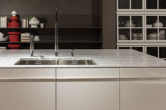 Marble Top Kitchen Sink Royalty Free Stock Images