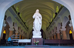 Marble Virgin Statue in the Cathedral Interior Stock Photo