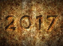 2017 On Marble Wall – 3D Illustration Stock Images