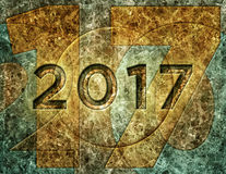2017 On Marble Wall – 3D Illustration Royalty Free Stock Image