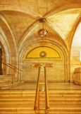 The marble walls and floors of Chicago`s City Hall. Interior Government office. stock photos
