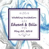 Marble wedding invitation. Hand painted marbling texture abstrac. T background royalty free illustration