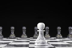 Marble white pawn versus black pawns. 3D render of white and black marble chess pawns - one white pawn versus eight black pawn on chess board against black Royalty Free Stock Photos